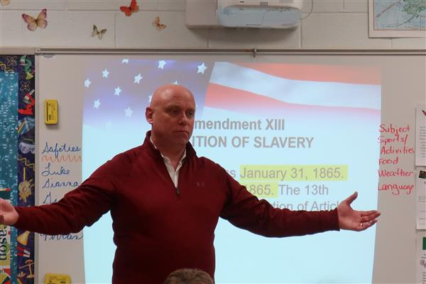 Hurffville Elementary School Principal Delivers Powerful Lesson on the Rise and Fall of Slavery in America