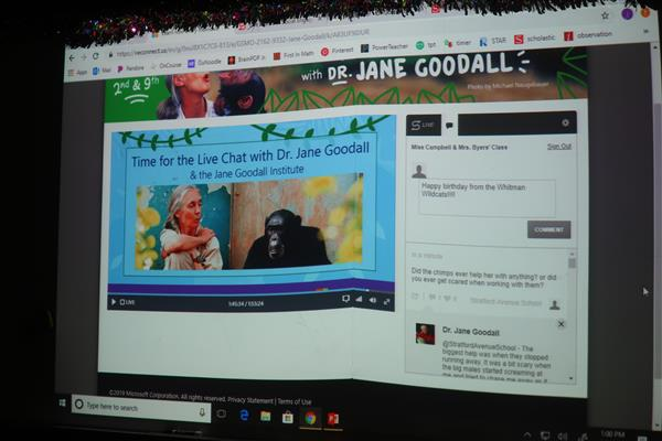 Whitman Elementary Second-Graders Live Chat with Legendary Chimpanzee Expert Jane Goodall