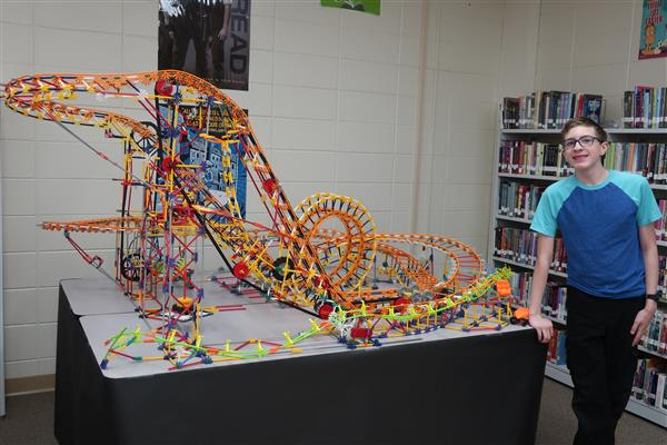 OVMS Student-Engineered K'NEX Roller Coaster Draws Questions and Applause