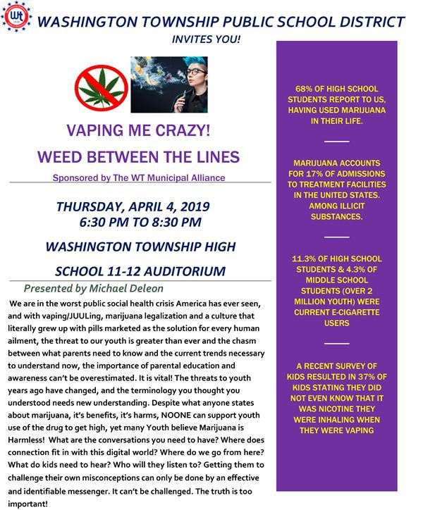 "Washington Township School District to Host ""Vaping Me Crazy! Weed Between the Lines"""