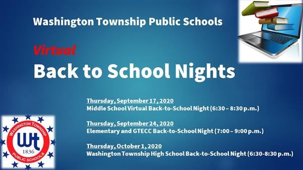Washington Township Public Schools to Host     2020-21 Virtual Back-to-School Nights by Level