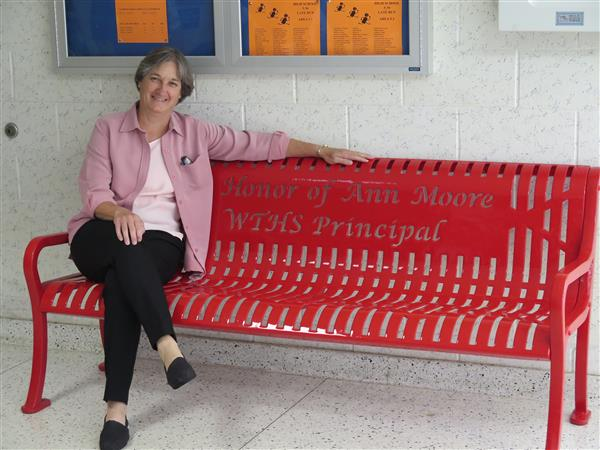 WTHS Dedicates Bench to Former Principal Ann Moore