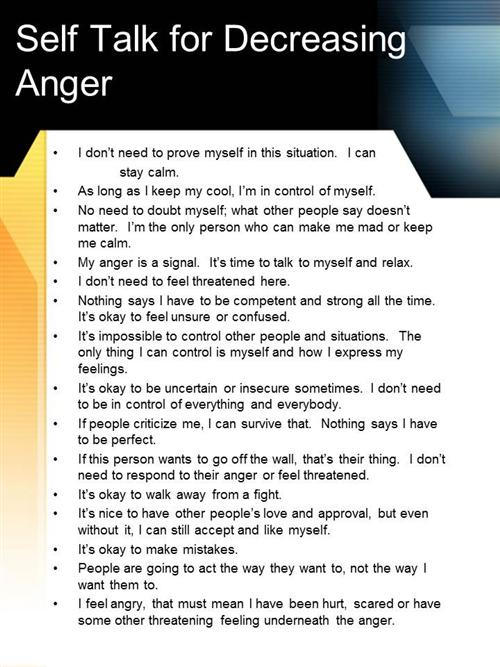 Helpful in decreasing anger
